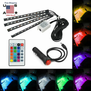 4pcs 48 Led Car Interior Atmosphere Neon Lights Strip Ir Remote Control Lamp
