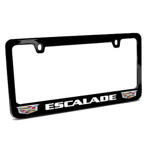Cadillac Escalade Dual Crest Logo In Full color Black Metal License Plate Frame