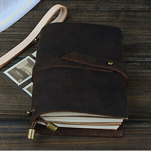 Handmade Cowhide Leather Cover Vintage Note Book Diary Journal Travel Notepad