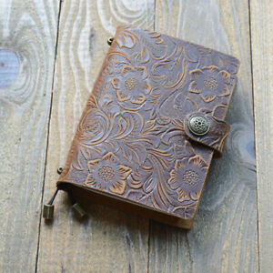 Handmade Cowhide Leather Cover Vintage Carved Note Book Diary Journal Notepad