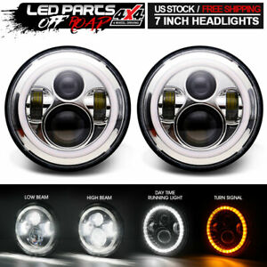 Pair 7 Inch Round Led Projector Hi lo Chrome Halos Headlight For Hummer H1 H2
