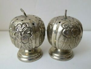 Vintage Pumpkin Shaped Aztec Rose Chased Sterling Silver Salt Pepper Shakers