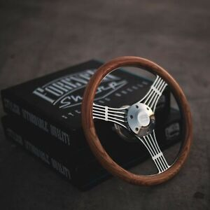 14 Chrome Banjo Steering Wheel With Oak Wood Grip And Billet Horn Button