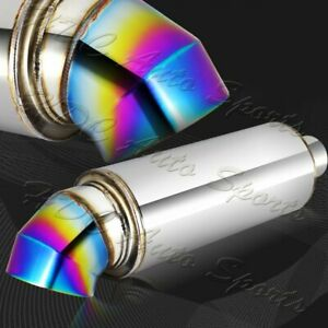 4 Cutter Knife Style Rainbow Tip Stainless Weld on Exhaust Muffler 3 Inlet