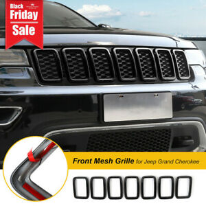 7pcs Abs Black Front Grille Insert Decor Ring Trim For Jeep Grand Cherokee 2017