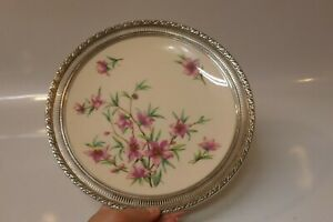 Lenox Peachtree Porcelain Plate With Sterling Silver Open Work Rim