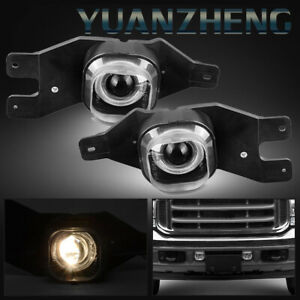 Fog Lights For Ford F250 F350 F450 F550 Excursion Halo Clear Projector Lamps 2pc