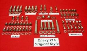 Chevy 216 Straight 6 Cylinder Stainless Steel Engine Original Style Bolt Kit Set
