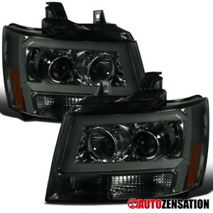 For 2007 2014 Chevy Tahoe Suburban Led Drl Bar Tube Smoke Projector Headlights