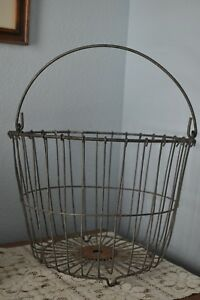 Antique Primitive Farm Vintage Wire Egg Basket Home Floral Display Decor