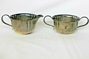 Vintage Webster Co Sterling Silver Sugar Creamer Set Monogrammed