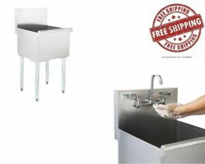 Commercial Utility Sink Prep Hand Wash Laundry Stainless Steel One Compartment