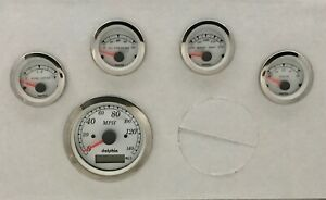 5 Gauge Gps Speedometer Dash Set Street Rod Hot Rod Universal White