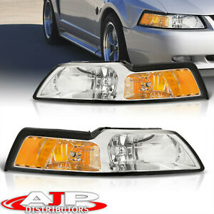 Chrome Amber Replacement Head Lights Lamps Lh Rh Set For 1999 2004 Ford Mustang