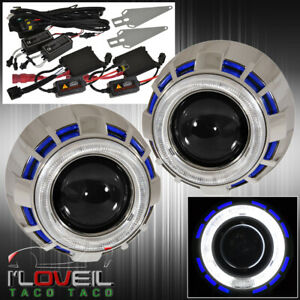 Universal 2 5 Bi Xenon Headlight Retrofit Dual Ccfl Ring Blue White Diy Kit