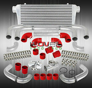 Big Front Mount Intercooler Ssqv Style Bov Aluminum Red Silicone Coupler Kit