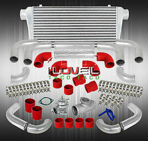 Bar Plated Big Front Intercooler Chrome Rs Style Bov Elbow Bented Couplers