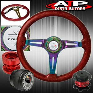 Extender Quick Release Sparkle Red Neo Chrome Steering Wheel For 90 93 Integra