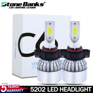 2x Cob 5202 H16 Led Fog Light Bulbs 6000k Xenon White 200w High Power