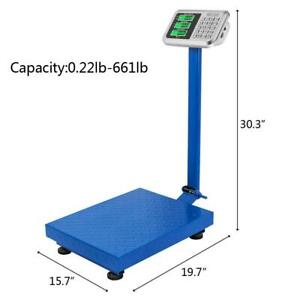 300kg 661lb Digital Shipping Postal Scale Heavy Duty Steel Platform 19 7 x15 7