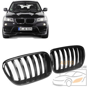 Gloss Black Single Slat Front Kidney Grille Grill For Bmw F25 X3 2011 14