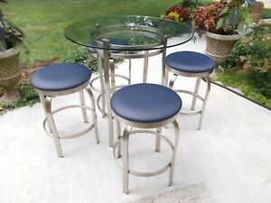 Trico Bistro Table And 4 Stools Stainless Brushed Steel And Glass