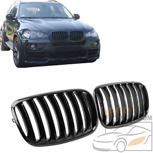 Gloss Black Single Slat Front Kidney Grille Grill For Bmw E70 X5 E71 X6 2007 13