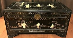Chinese Mother Of Pearl Lacquered Large Trunk Chest Box Vintage