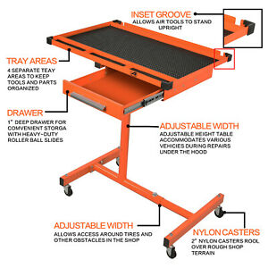 Heavy Duty Adjustable Work Table Bench With Drawer 200 Lbs Rolling Tool Cart