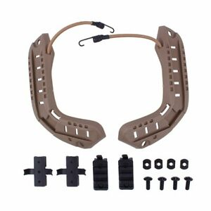 Tactical Helmet Rails Kit with Lanyard Tan for OPS-CORE Helmet Airsoft Hunting