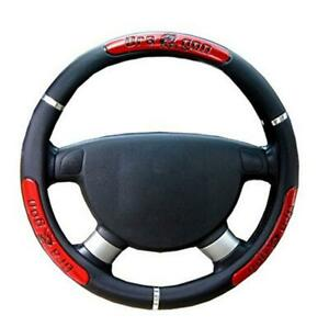 38cm Pu Leather Car Suv Steering Wheel Cover Red Black Universal Usa Ship