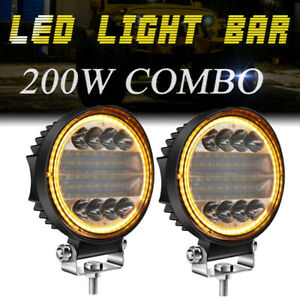 2x 5inch Round Led Light Bar Pods Combo Drl Offroad Truck Atv Driving Fog Lamp