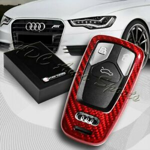 For Audi A4 A5 S4 S5 Q5 Q7 Tt Real Red Carbon Fiber Remote Key Shell Cover Case