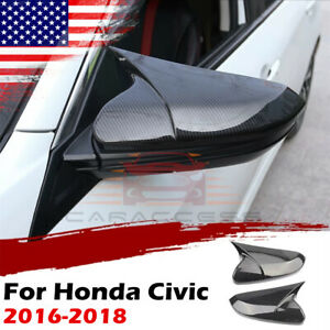 For Honda Civic 2016 2017 2018 Ox Horn Carbon Fiber Rear View Mirror Cover Cap
