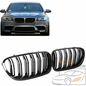 Look Carbon Fiber Double Slat Front Kidney Grille Grill For Bmw F10 535i 2010 16