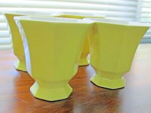 4 Independence Ironstone Teacups Made In Japan Yellow And White Teacups