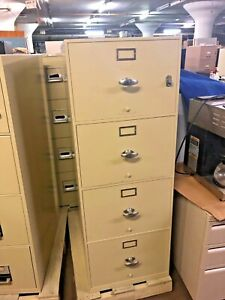 4dr Legal Fire proof File Cabinet By Meilink hercules W Lock Key In Putty