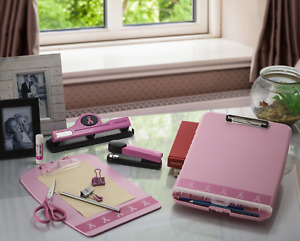 Slim Clipboard Box Pink Clip Board Storage Folder Papers Forms Notepads Student