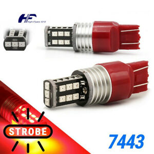 Pair 7443 7440 Red Led Strobe Flash Brake Stop Tail Light Parking Bulbs Us