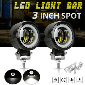 Pair 3inch Led Work Light Bar Round Spot Driving Fog Pods White Drl Offroad 4wd