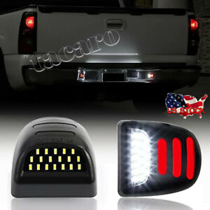 2x Led License Plate Light Red Drl Tube For Chevy Silverado Gmc Sierra 1500 2500