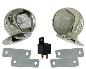 1 Pair 12v 110db Chrome Electric Car Truck Pickup Snail Horns W Relay