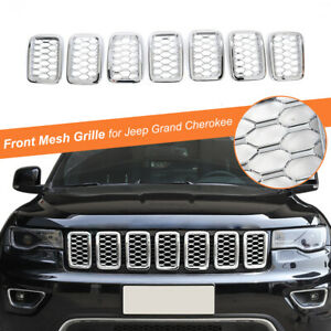 Chrome Front Grille Insert Mesh Ring Decor 7pcs Set For Jeep Grand Cherokee 17
