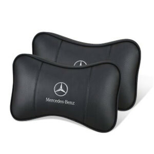 2pcs Car Headrest Neck Pillow For Mercedes Benz Genuine Leather Breathable Nice