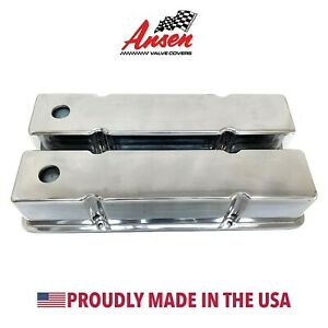 Small Block Chevy Tall Valve Covers Die cast Aluminum Polished Ansen Usa