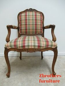 Ethan Allen French Country Carved Lounge Arm Living Room Chair Italian Italy