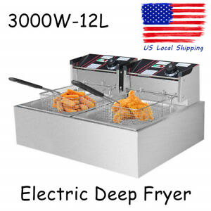 3000w Electric Deep Fryer Dual Tank Commercial Restaurant 12l With Two Baskets