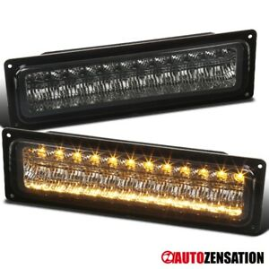 For 88 98 Chevy Gmc C10 Truck Smoke Led Bumper Lights Parking Signal Lamps Pair