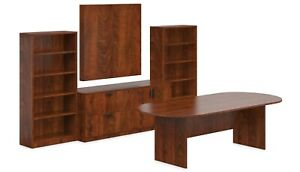 10ft Laminate Conference Table Boardroom Set In American Dark Cherry Finish