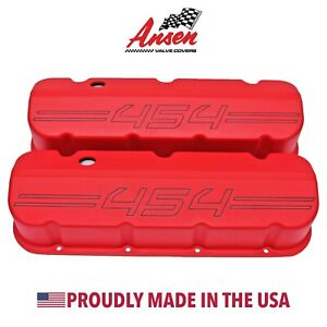 Big Block Chevy 454 Outline Valve Covers Die cast Aluminum Red Ansen Usa